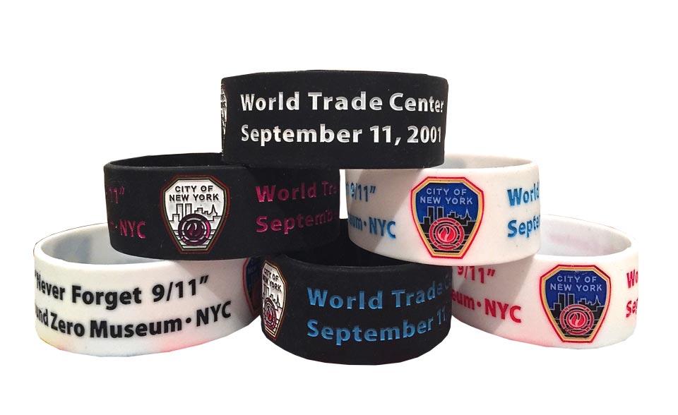 Museum Memorial Bracelet For 9 11 Black Letters On White